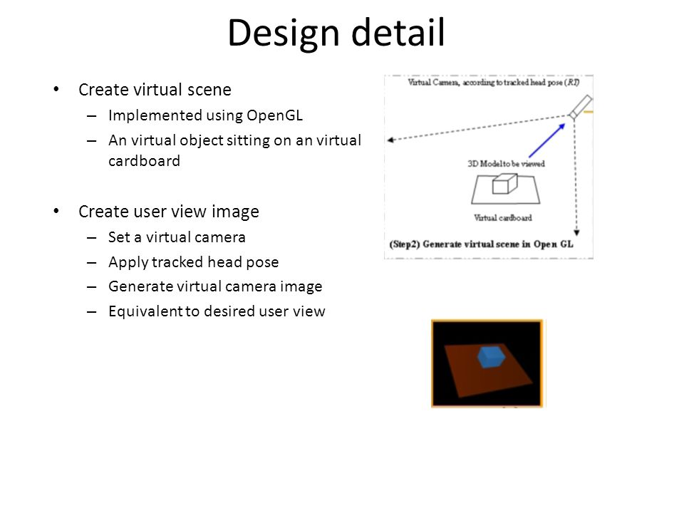 Design detail Create virtual scene Create user view image