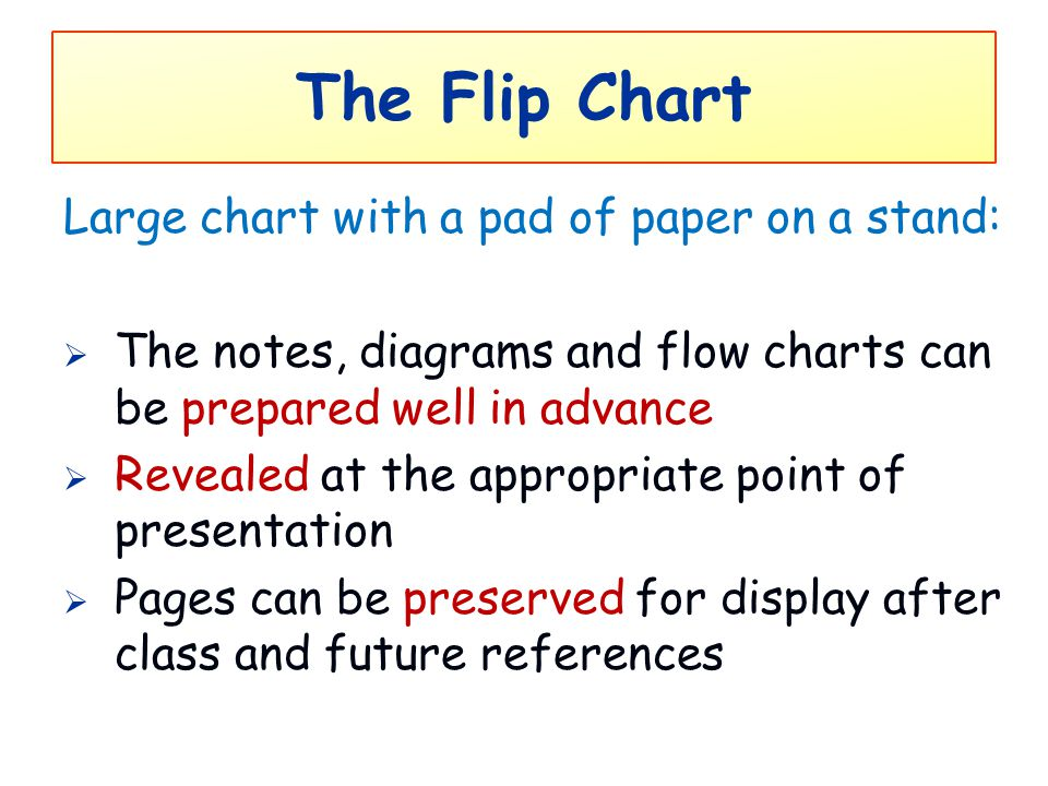 The Flip Chart Large chart with a pad of paper on a stand: