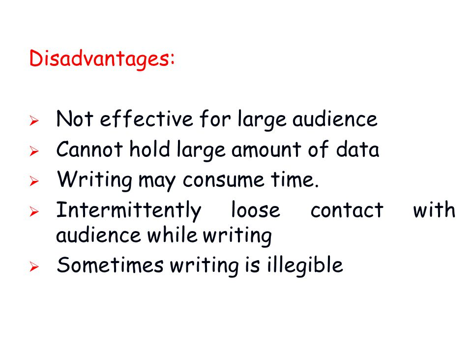 Disadvantages: Not effective for large audience. Cannot hold large amount of data. Writing may consume time.
