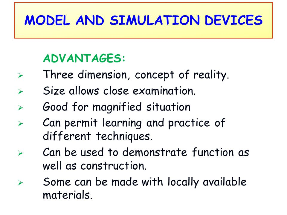 MODEL AND SIMULATION DEVICES