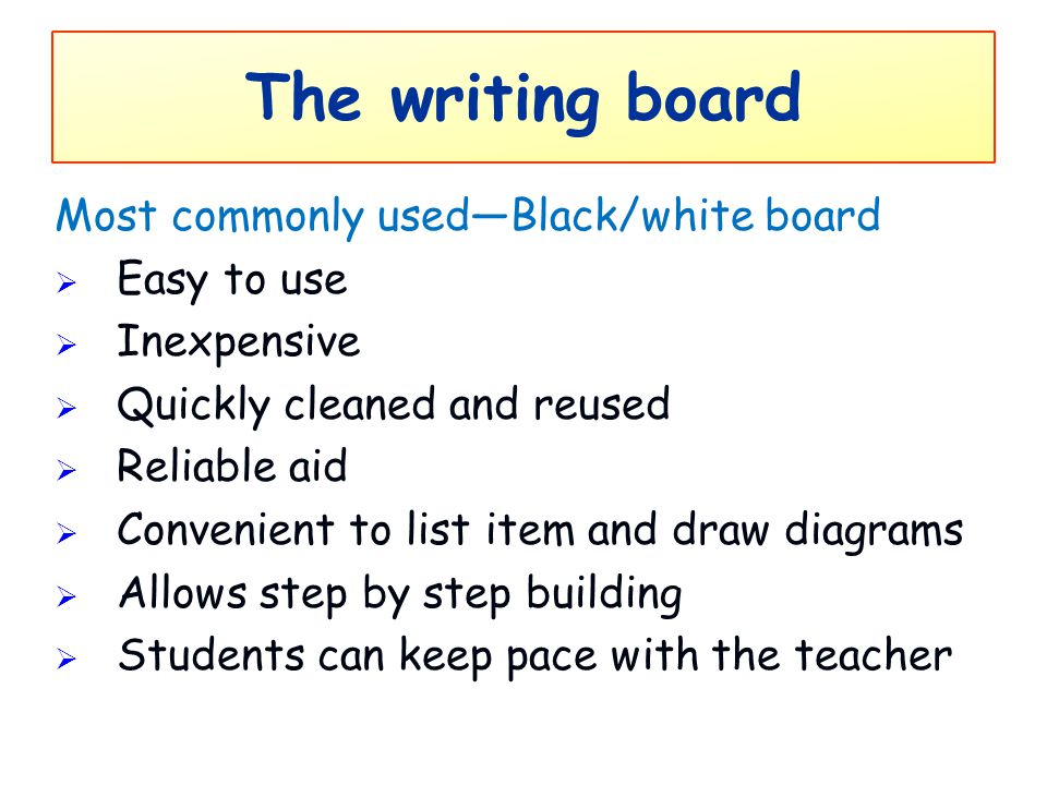 The writing board Most commonly used—Black/white board Easy to use