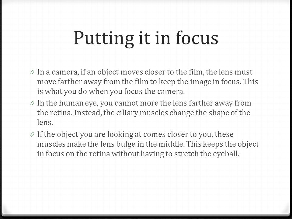 Putting it in focus