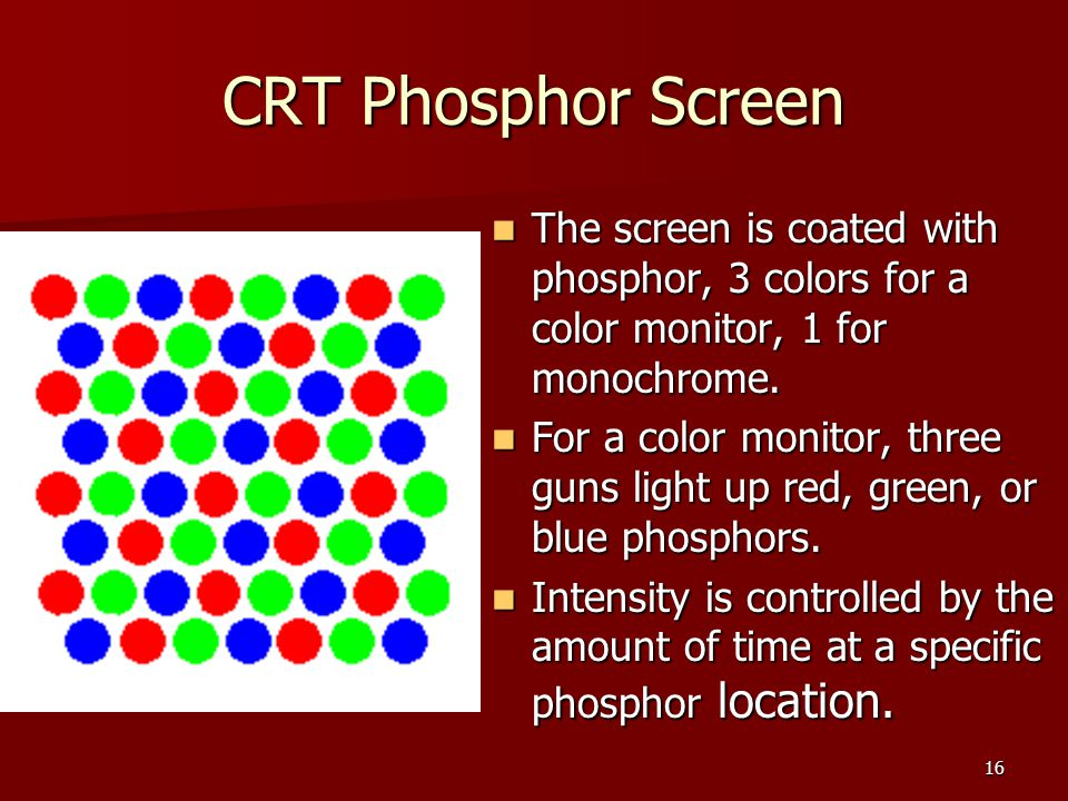 CRT Phosphor Screen The screen is coated with phosphor, 3 colors for a color monitor, 1 for monochrome.
