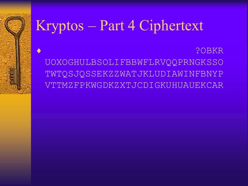 Kryptos – Part 4 Ciphertext
