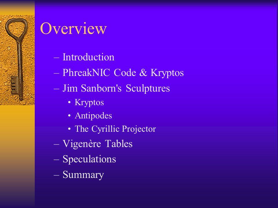Overview Introduction PhreakNIC Code & Kryptos