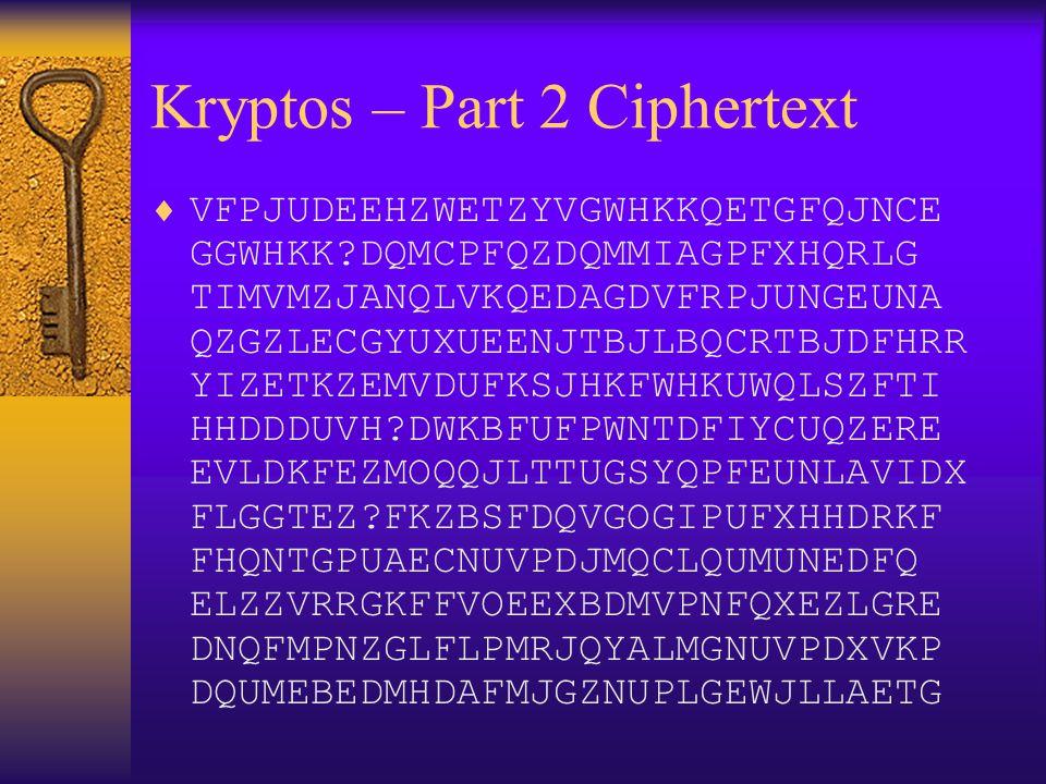 Kryptos – Part 2 Ciphertext