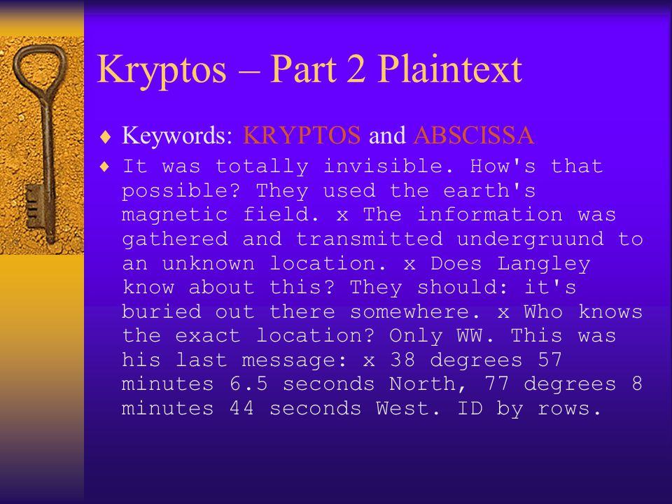 Kryptos – Part 2 Plaintext