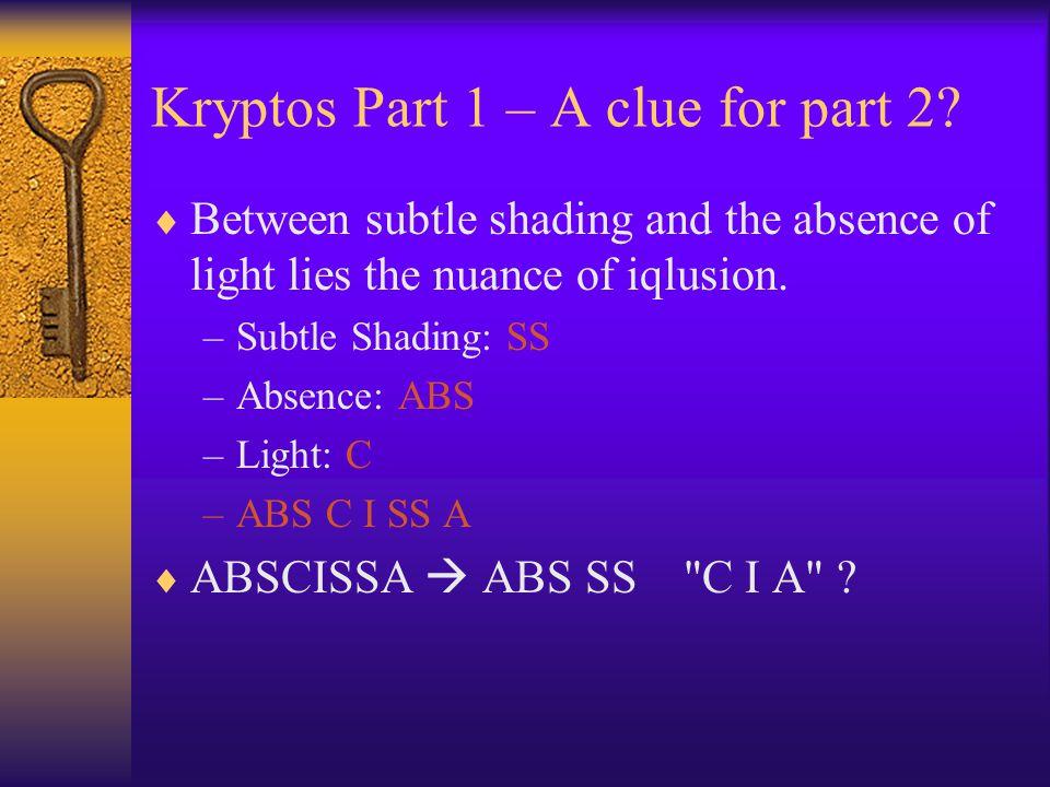 Kryptos Part 1 – A clue for part 2