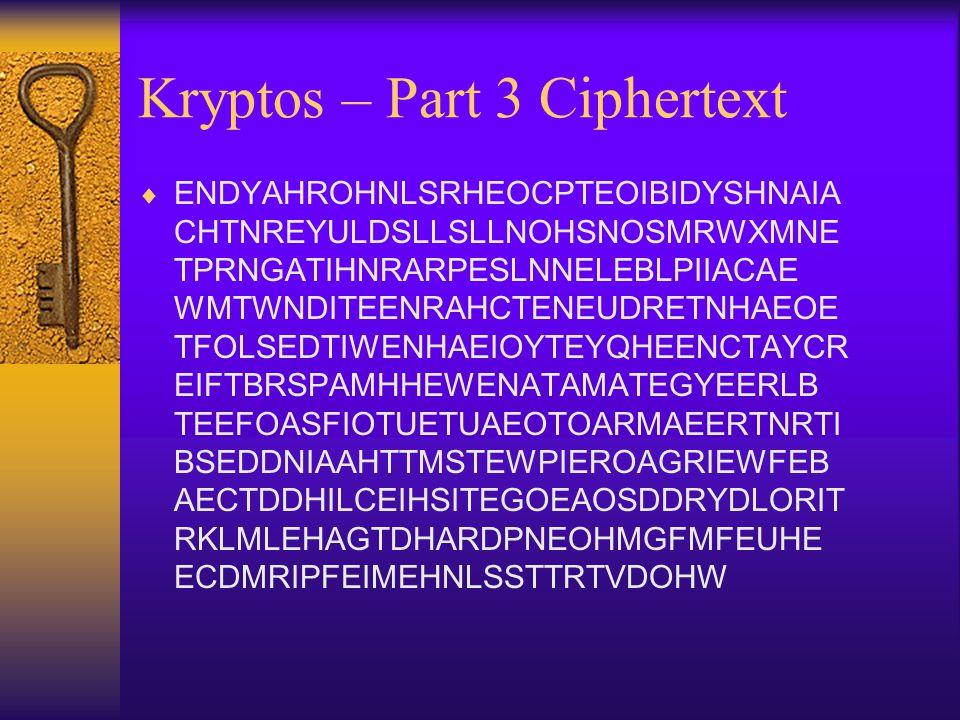 Kryptos – Part 3 Ciphertext