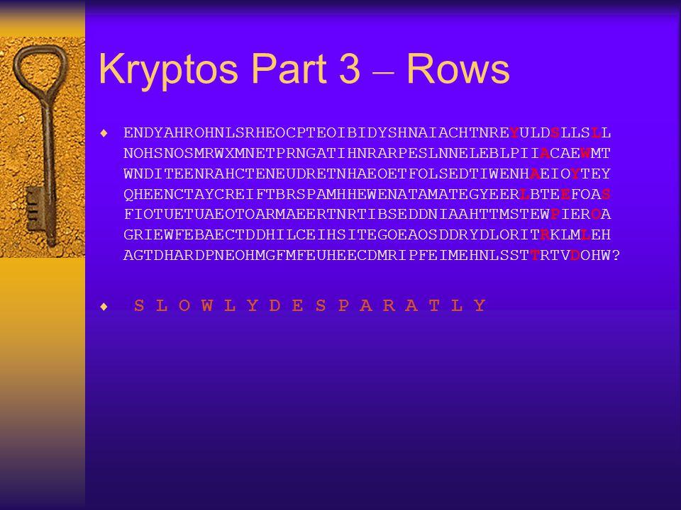 Kryptos Part 3 – Rows
