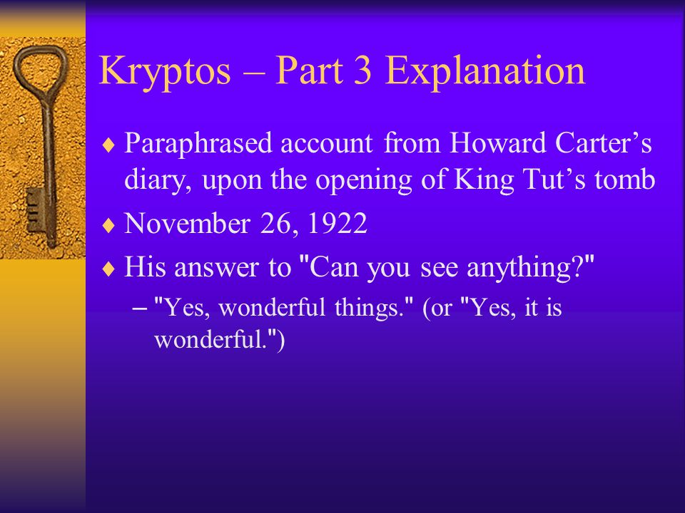 Kryptos – Part 3 Explanation