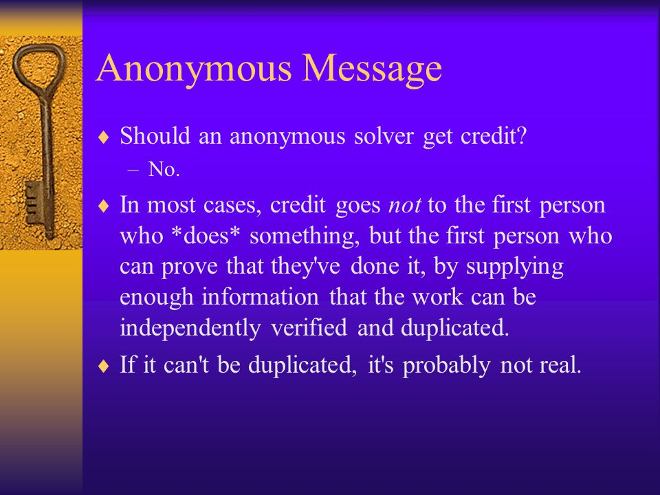 Anonymous Message Should an anonymous solver get credit