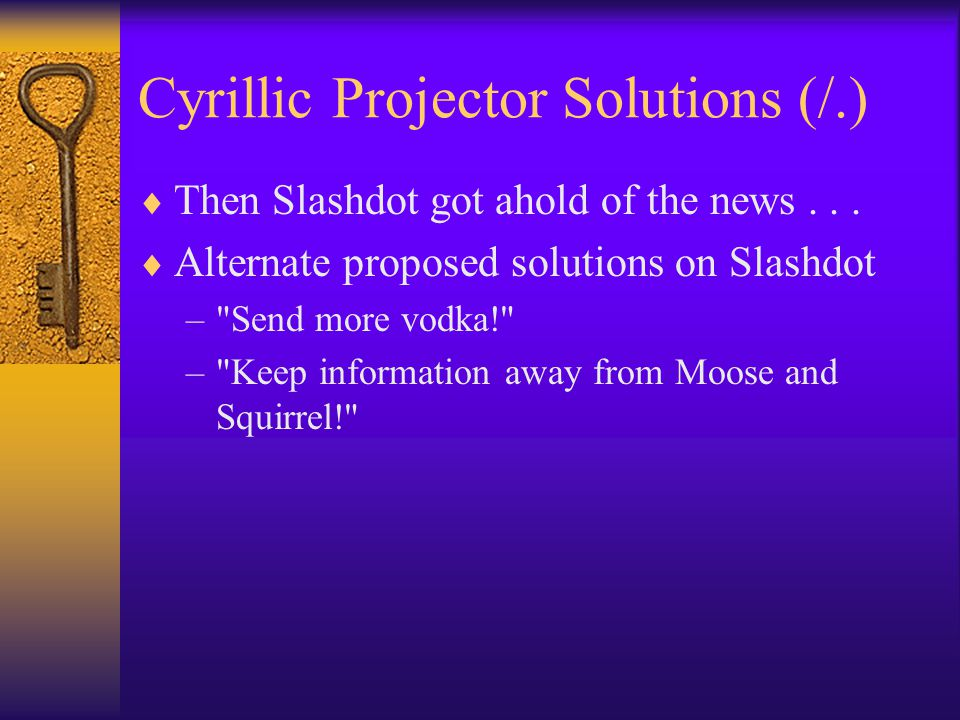 Cyrillic Projector Solutions (/.)