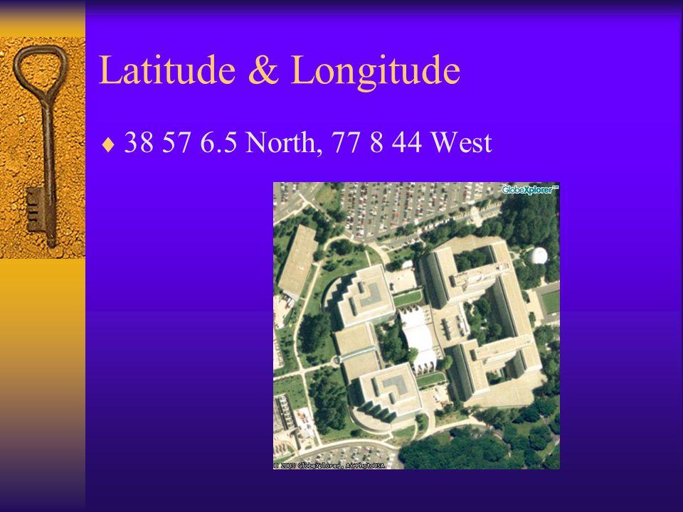 Latitude & Longitude 38 57 6.5 North, 77 8 44 West
