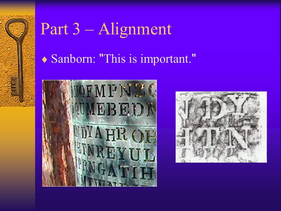 Part 3 – Alignment Sanborn: This is important.