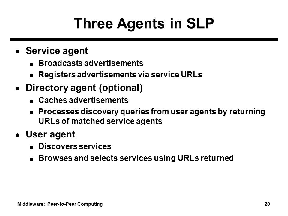 Three Agents in SLP Service agent Directory agent (optional)