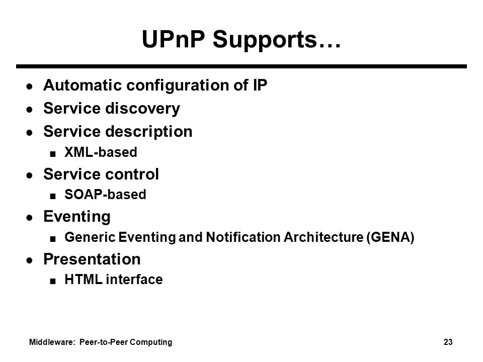 UPnP Supports… Automatic configuration of IP Service discovery