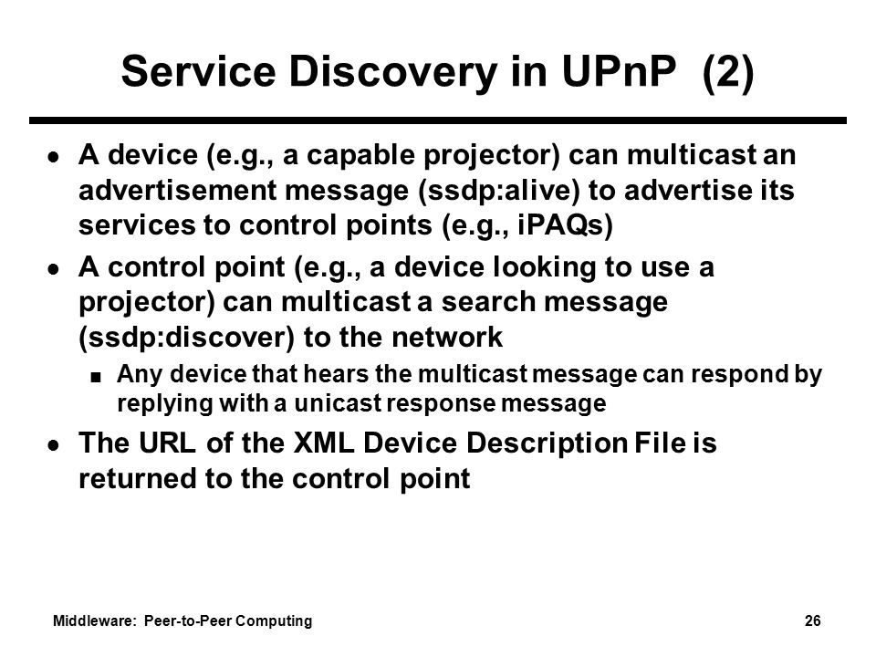 Service Discovery in UPnP (2)