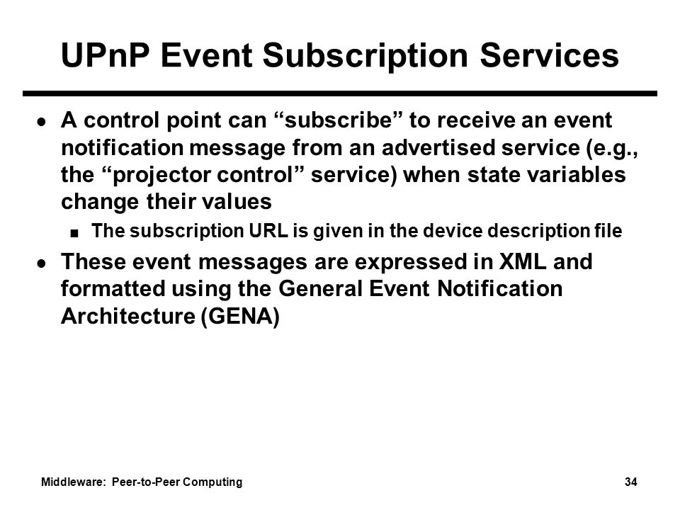 UPnP Event Subscription Services