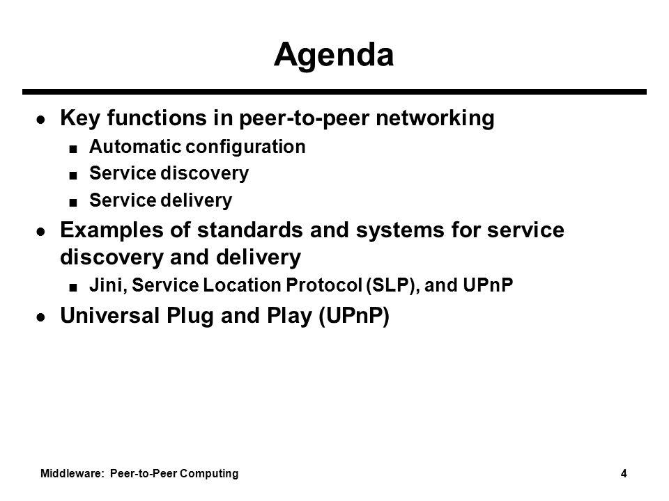 Agenda Key functions in peer-to-peer networking