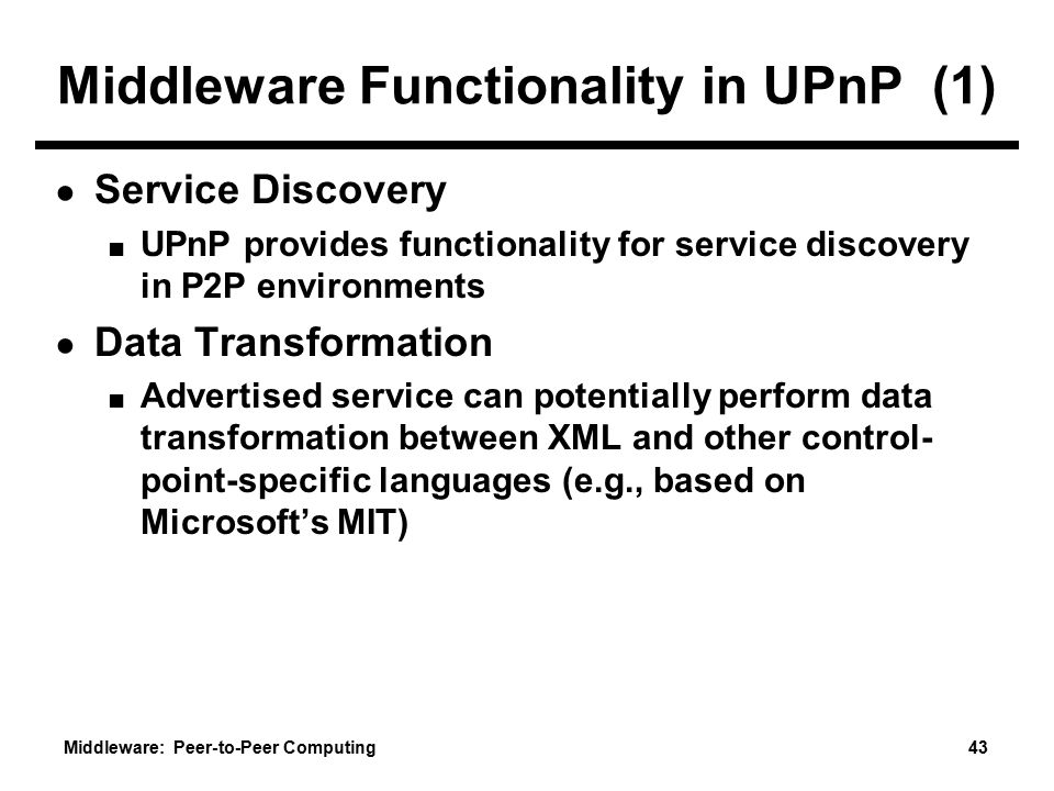 Middleware Functionality in UPnP (1)