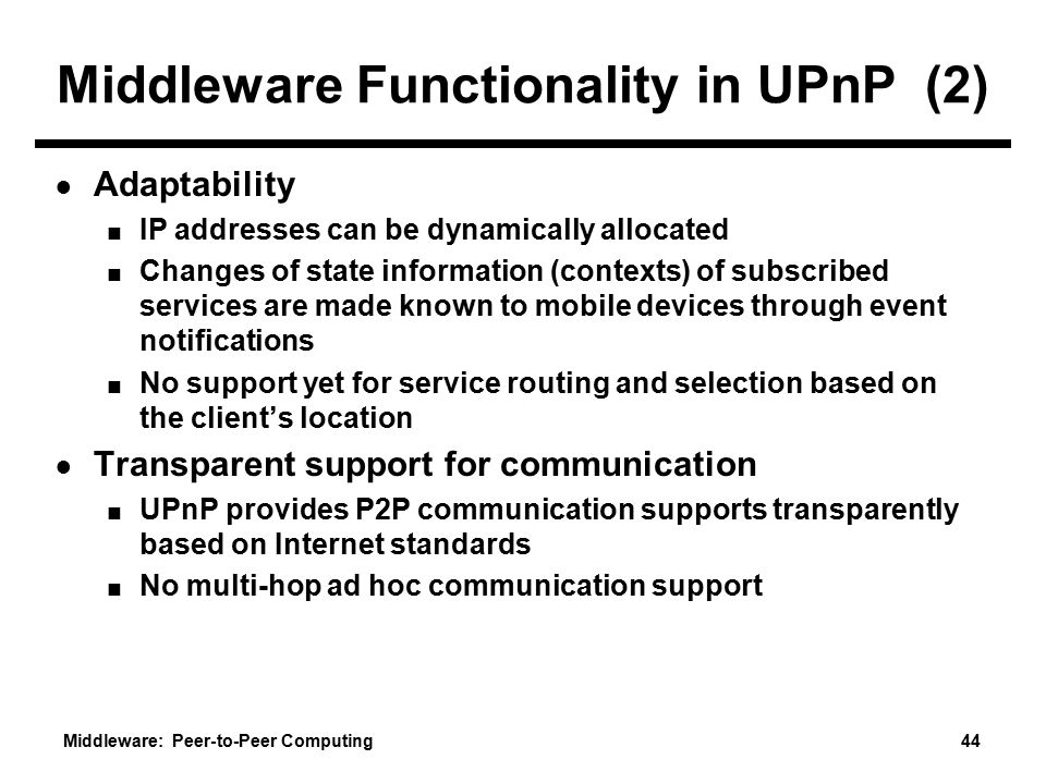 Middleware Functionality in UPnP (2)