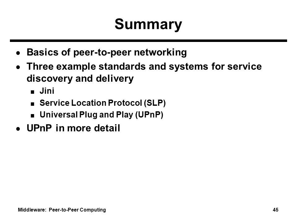 Summary Basics of peer-to-peer networking
