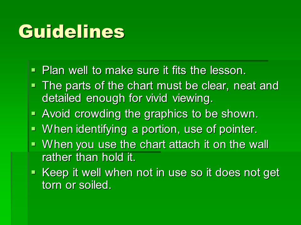 Guidelines Plan well to make sure it fits the lesson.