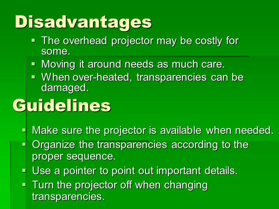 Disadvantages Guidelines