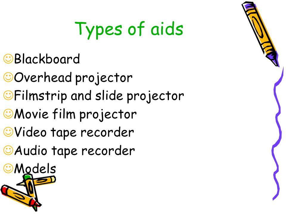 Types of aids Blackboard Overhead projector