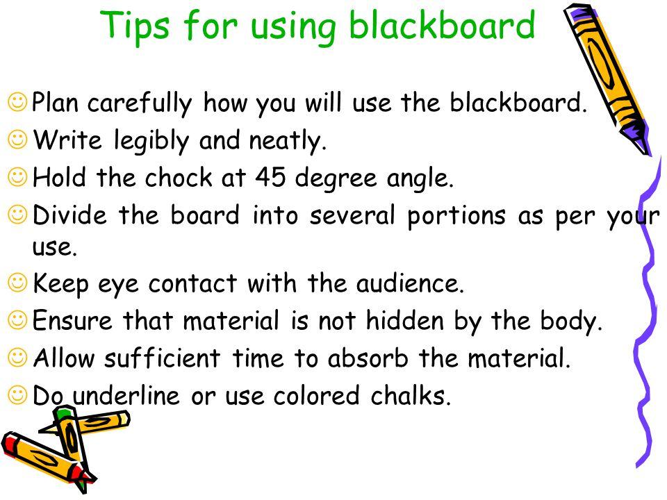 Tips for using blackboard