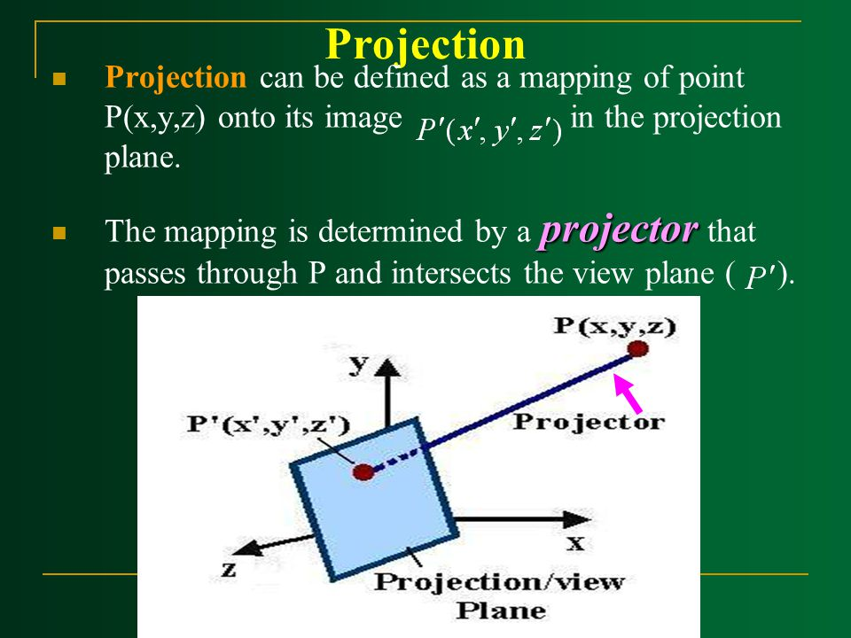 Projection Projection can be defined as a mapping of point P(x,y,z) onto its image in the projection plane.