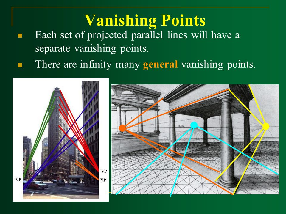Vanishing Points Each set of projected parallel lines will have a separate vanishing points.