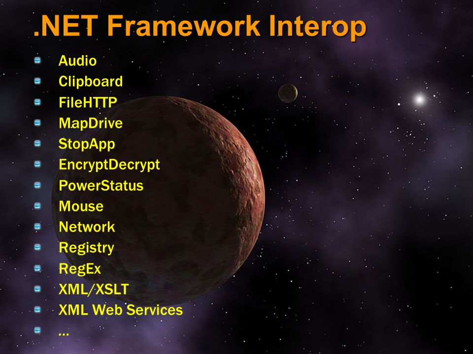 .NET Framework Interop Audio Clipboard FileHTTP MapDrive StopApp