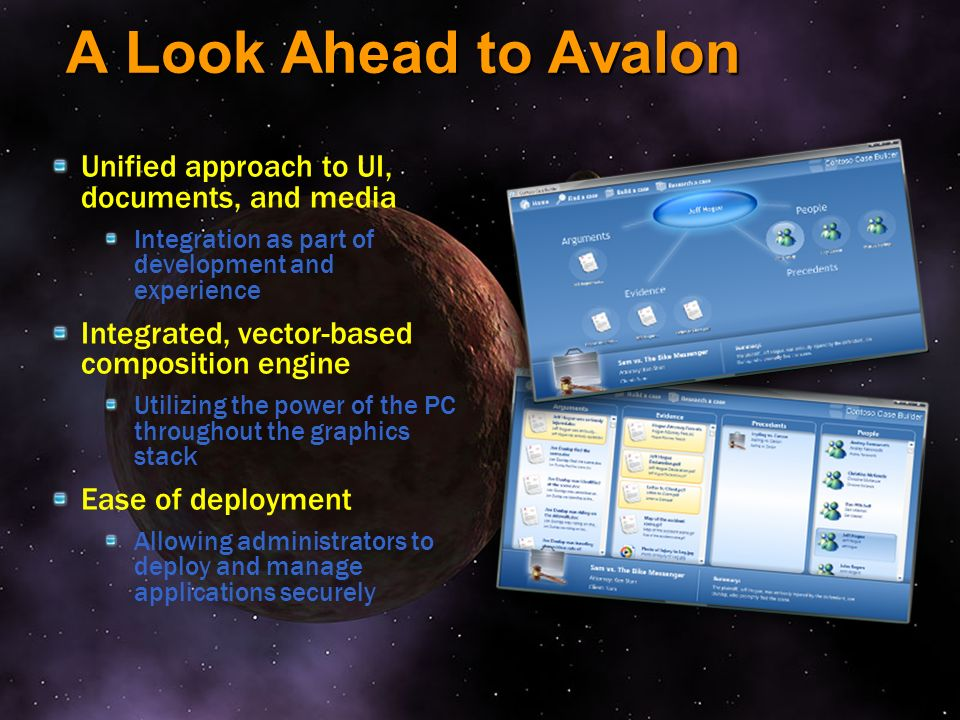 A Look Ahead to Avalon Unified approach to UI, documents, and media