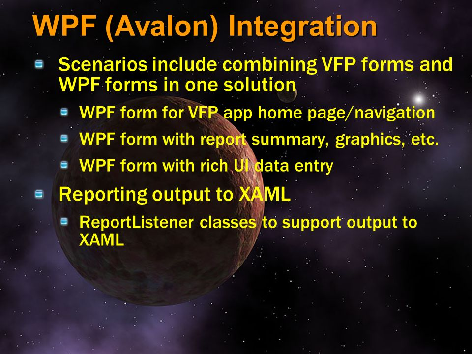 WPF (Avalon) Integration