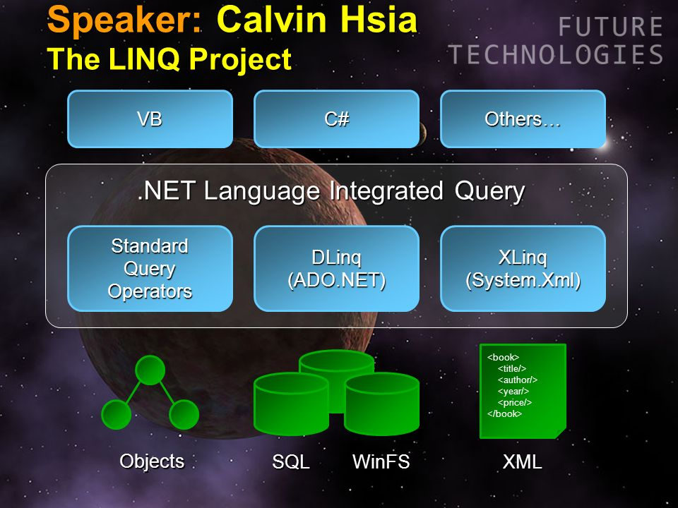 Speaker: Calvin Hsia The LINQ Project