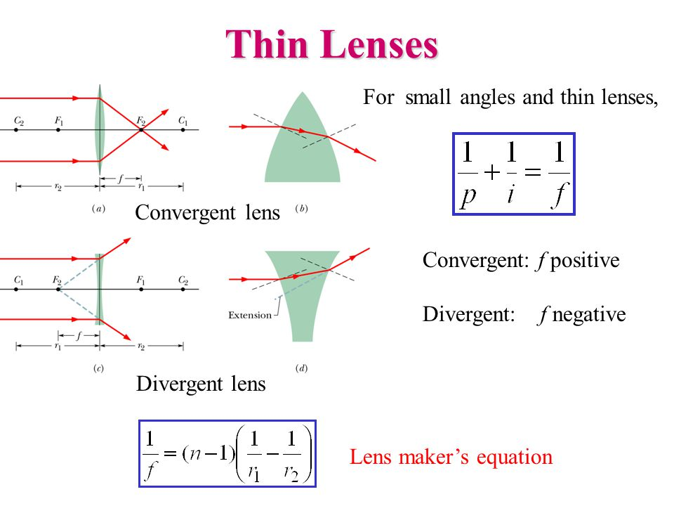 Thin Lenses For small angles and thin lenses, Convergent lens