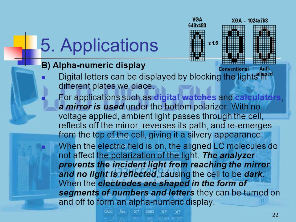 5. Applications B) Alpha-numeric display