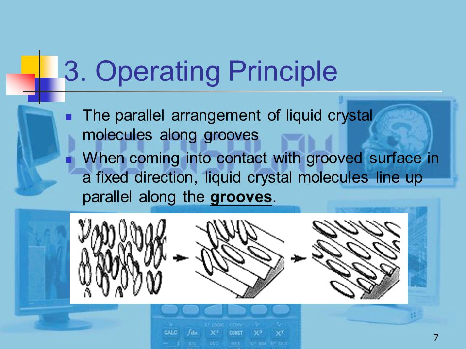 3. Operating Principle The parallel arrangement of liquid crystal molecules along grooves.