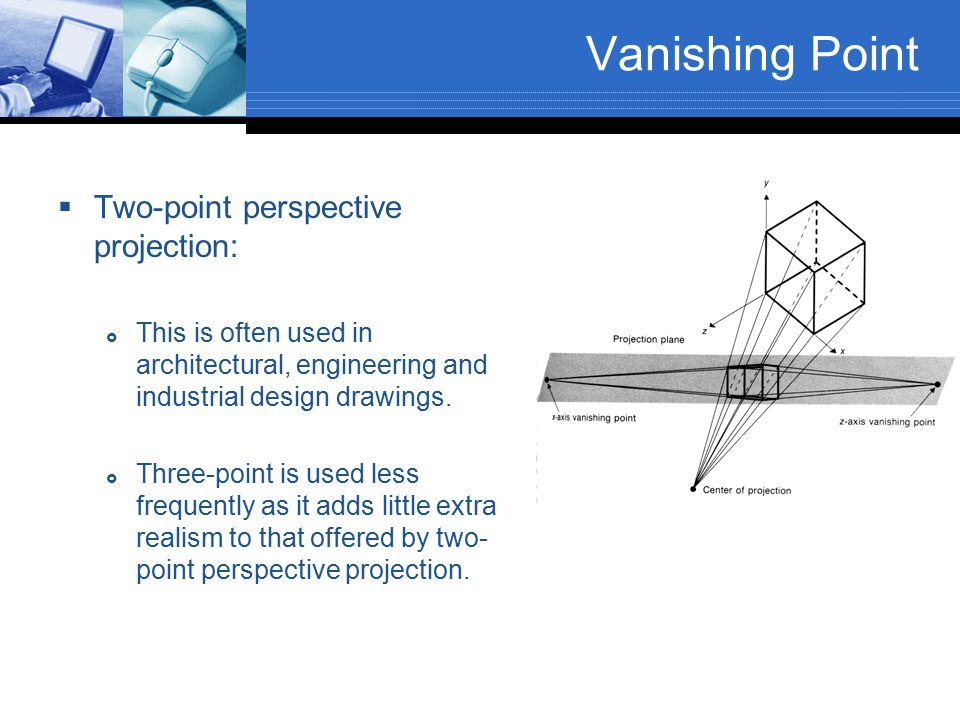 Vanishing Point Two-point perspective projection: