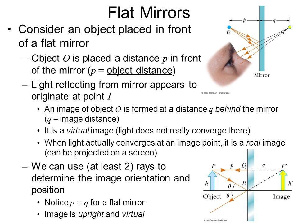 Flat Mirrors Consider an object placed in front of a flat mirror