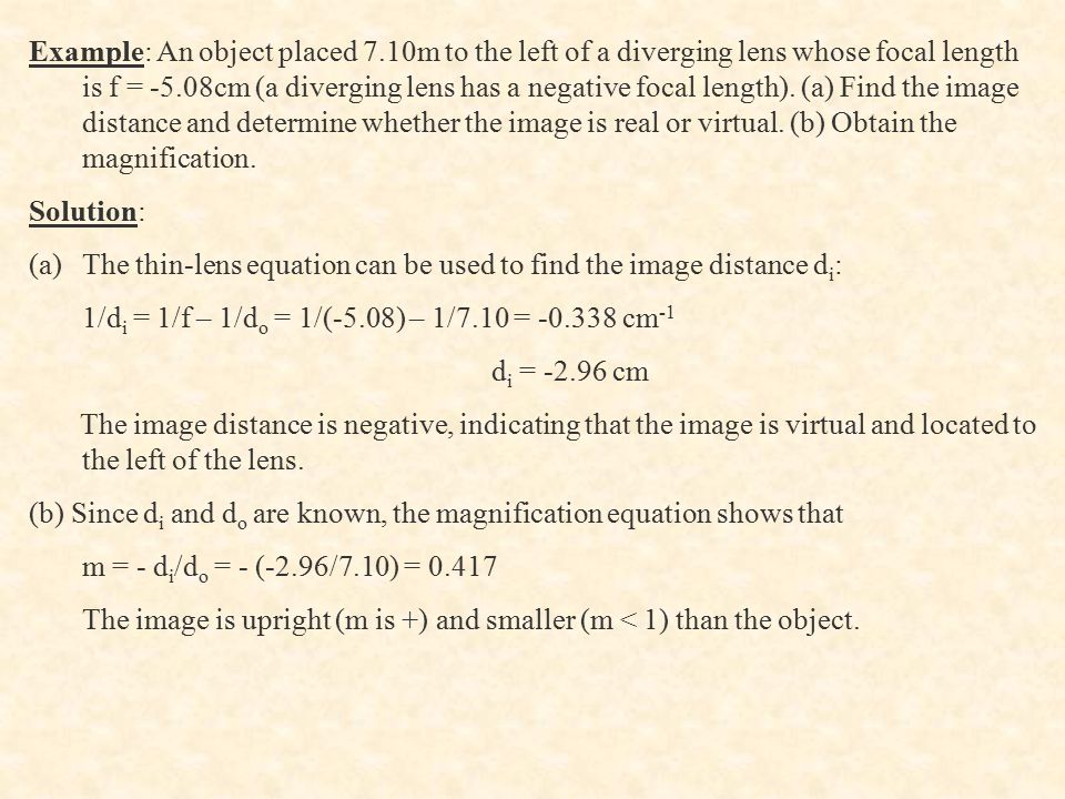 Example: An object placed 7