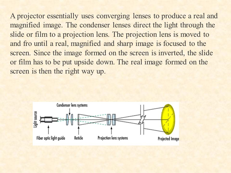 A projector essentially uses converging lenses to produce a real and magnified image.
