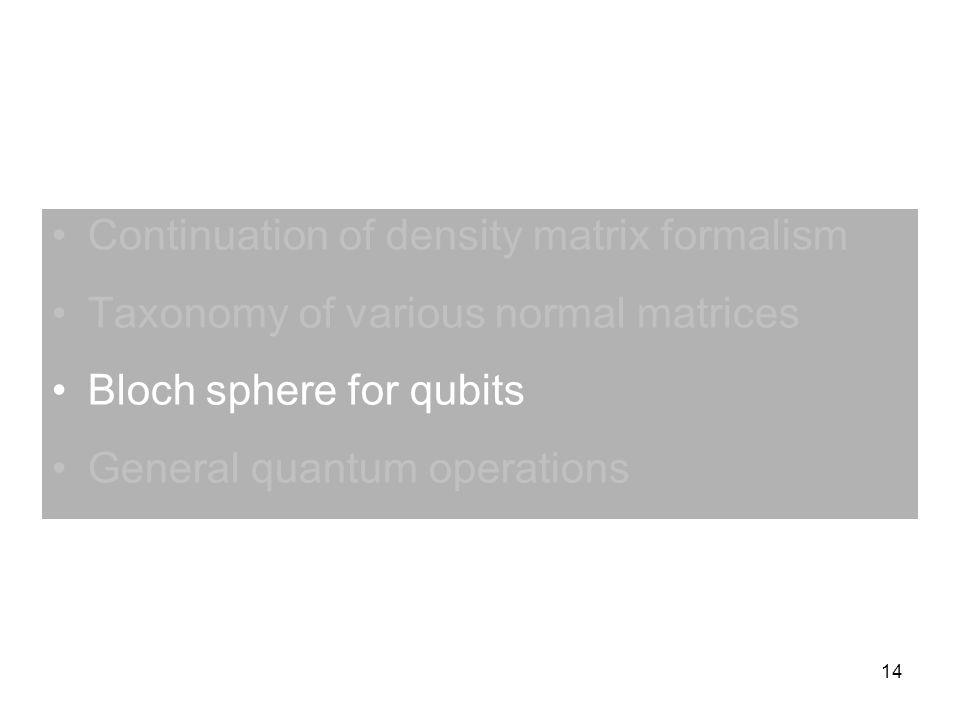 Continuation of density matrix formalism