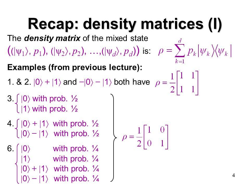 Recap: density matrices (I)