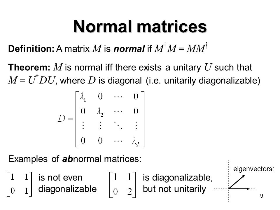 Normal matrices Definition: A matrix M is normal if M†M = MM† Theorem: M is normal iff there exists a unitary U such that.