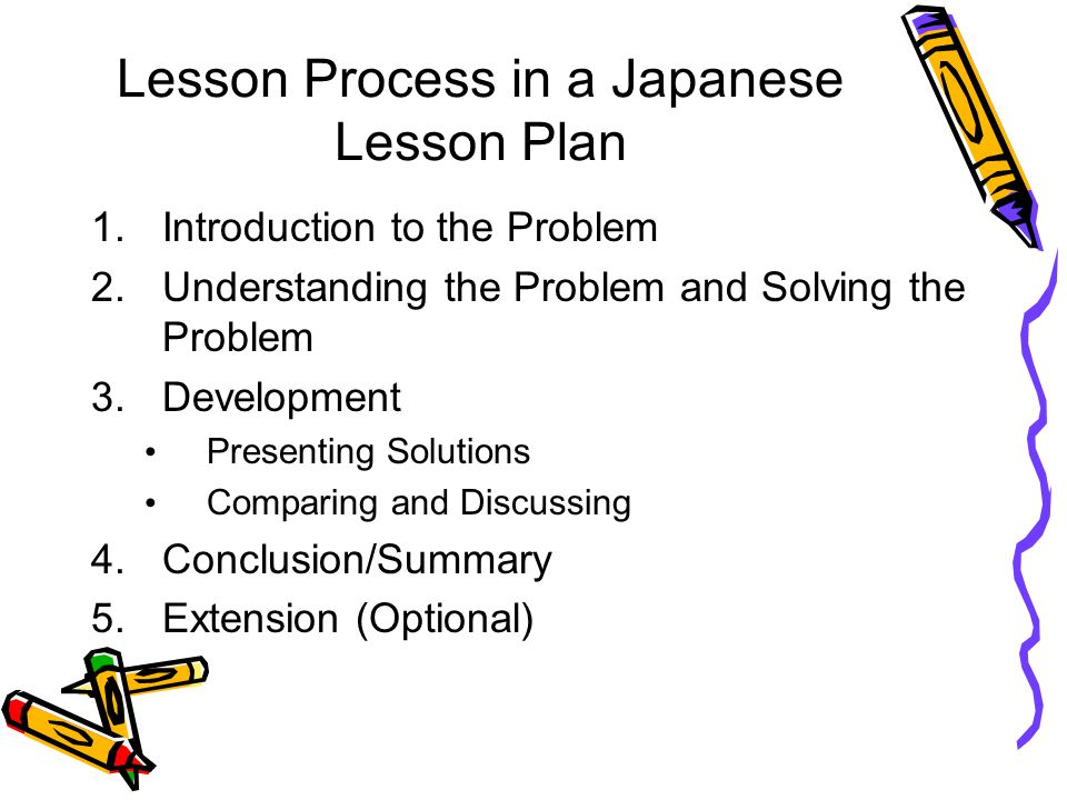 Lesson Process in a Japanese Lesson Plan
