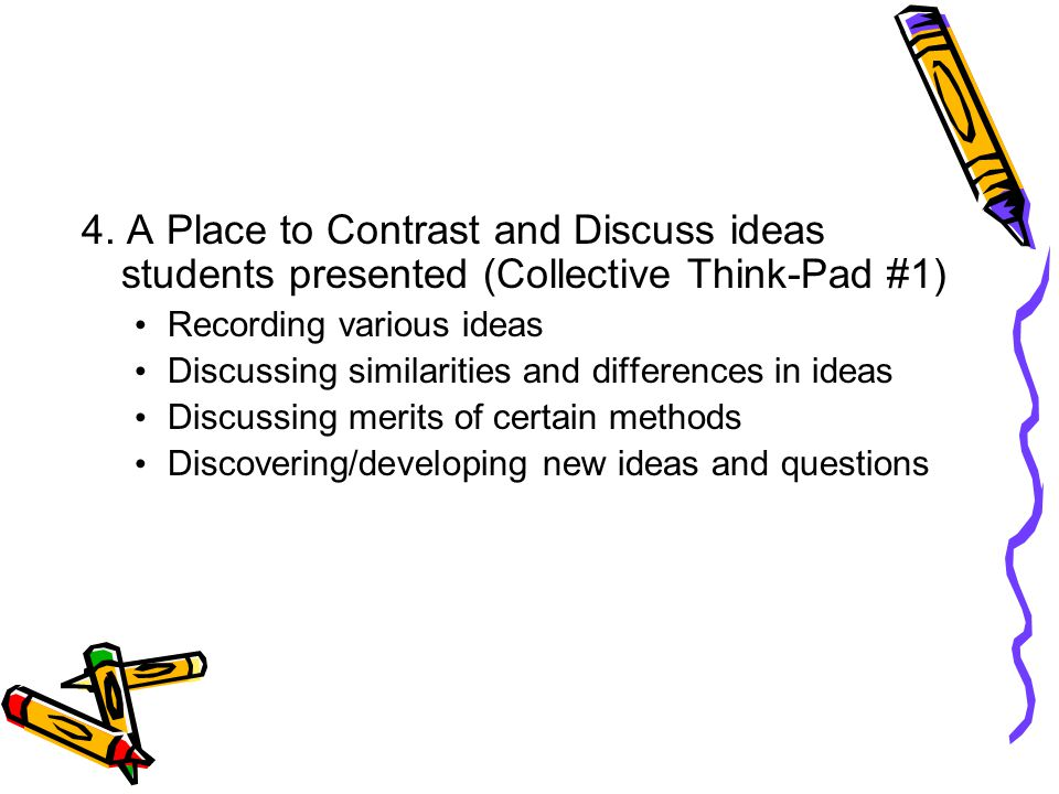 4. A Place to Contrast and Discuss ideas students presented (Collective Think-Pad #1)