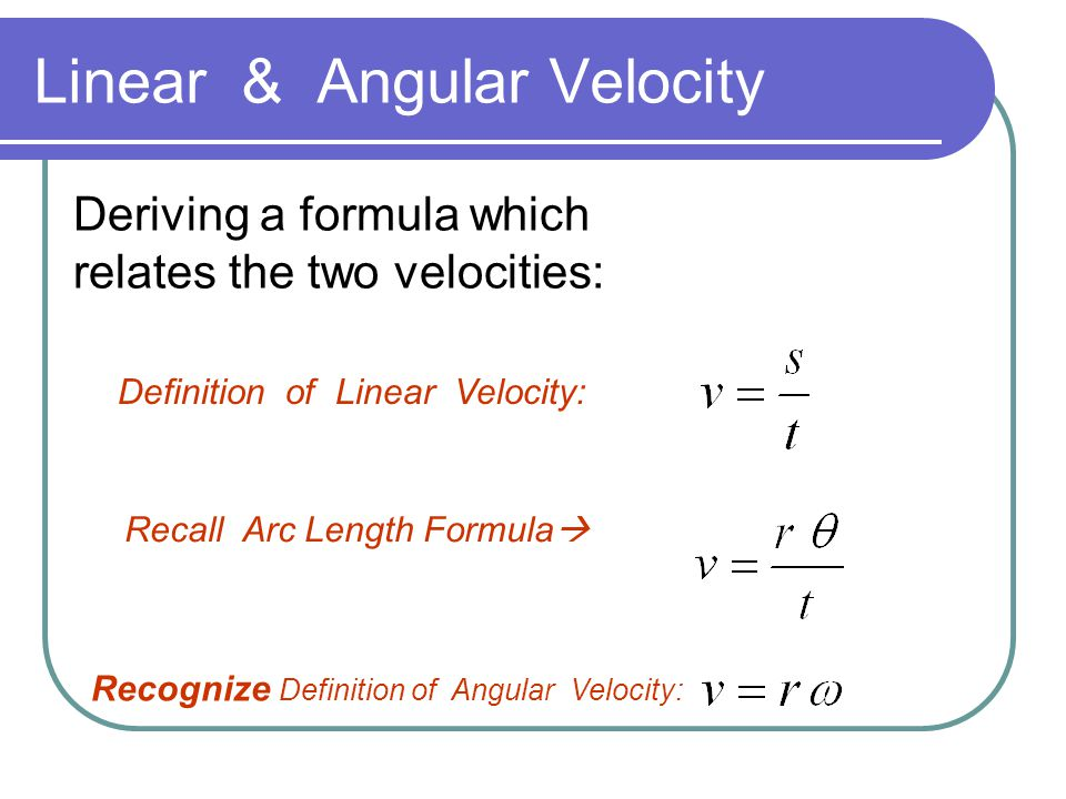 Linear & Angular Velocity